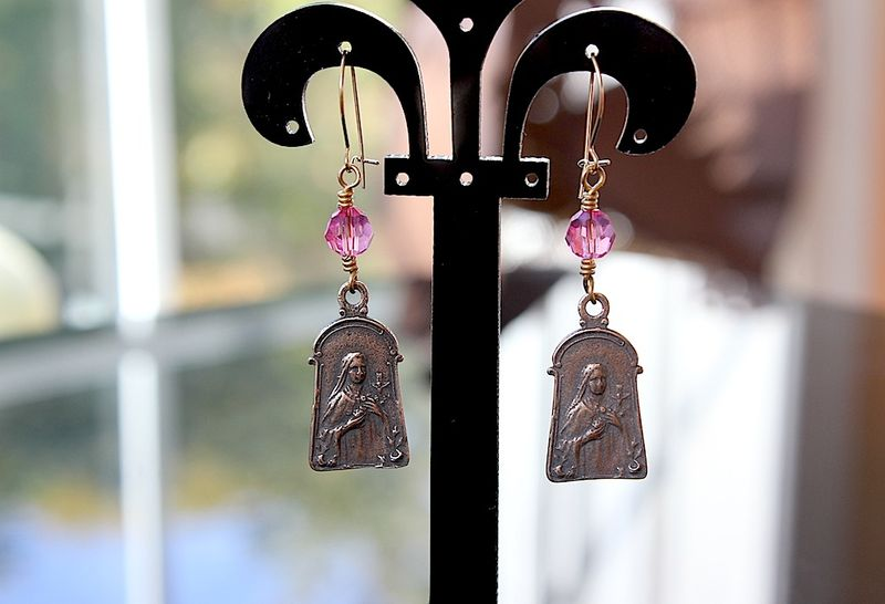 St therese earrings